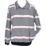 Pink and Black Striped Long Sleeve Polo by Paquette