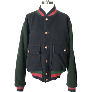 80's Black and Green Colorblock Wool Jacket with Red Stripes by Daniel Cremieux
