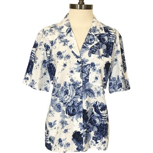 90's Blue and White Rose Printed Button Up by Josephine