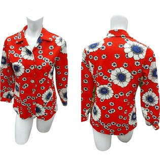 70's Red Button Up with Blue and White Floral Print