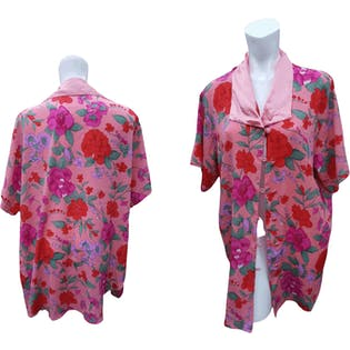 Light Pink Button Up Blouse with Bright Pink and Red Floral Print by Victoria's Secret