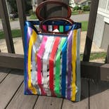 another view of 60's Rainbow Vinyl Striped Tote Bag