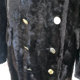 70's Brown Faux Fur Double Breasted Coat by Michel Daniel