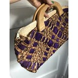 another view of 60's Purple Woven Raffia Handbag Purse with Wooden Handles