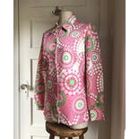 another view of 60's Mod Pop Pink Polka Dot Explosion Button Up by Pykettes