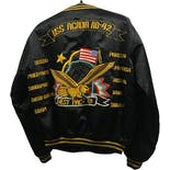 another view of 80's Embroidered Black Military Bomber Jacket
