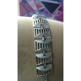 60's Silver Ornate Rectangle Link Bracelet