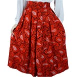 70's Deadstock Red Rayon Paisley Skirt by Blooming Buds