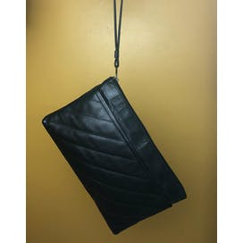 80's Black Leather Quilted Wristlet Clutch by Jennifer Moore