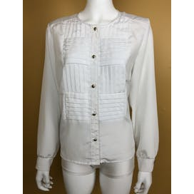 80's White Pleated Front Blouse by Willowridge