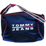 90's Blue Branded Duffle Bag with Red Trim by Tommy Jeans
