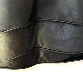 80's Black Sculptural Leather Skirt by Vera Pelle