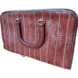 70's Maroon Stitched Woven Top Handle Bag by Morris Moskowitz
