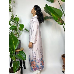 70's White Floral Print Ruffled Neck Kaftan House Coat by Montgomery Ward