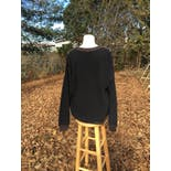 another view of 80's Multicolor Print Black Chunky Knit Sweater by Tribute