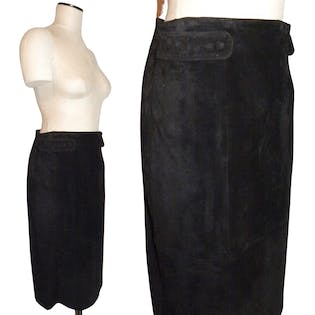 Black Suede Pencil Skirt with Button and Tab Detail by Dana Brooke