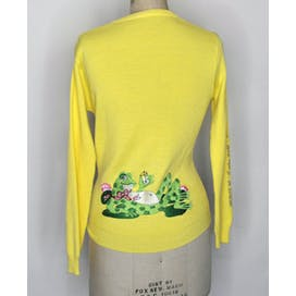70's Yellow Embroidered Drinking Frog Sweater