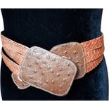 70's Brown and Orange Snake Ostrich Belt