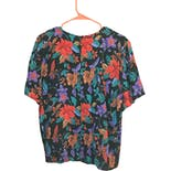 another view of 90's Black and Multicolor Floral Print Top by Sag Harbor