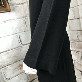 70's Black Crepe Bell Sleeve Midi Dress by Mr Blackwell