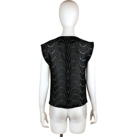 80's Black Sleeveless Blouse With Metallic Print