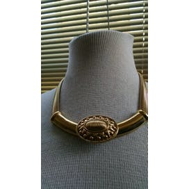 80's Gold Tight Coil Necklace with Oval Pendant