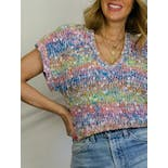 another view of 80's Pastel Rainbow V-Neck Sweater