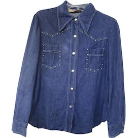 70's Blue Studded Denim Button Shirt