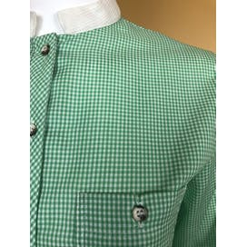 80's Green and White Gingham Blouse by Bobbie Brooks