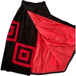 another view of 80s Black and Red Velvet Quilted Maxi Wrap Skirt by Walker Mountain Crafts