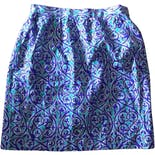 Blue and Purple Ornate Print Silk Mini Skirt