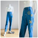 another view of 90's High Waisted Medium Wash Jeans by Monique Jeans