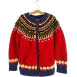 80's Red Chunky Wool Fair Isle Pattern Cardigan