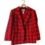 90's Red Plaid Wool Blazer by Prophecy by Sag Harbor