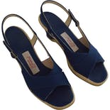 another view of 70's Blue Canvas Wedge Sandals by Hush Puppies Shoes