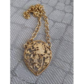 70's Gold Crest Pendant Necklace