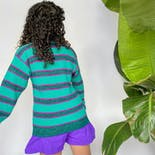 another view of 90's Bright Teal with Thin Fuchsia Striped Sweater by ATB
