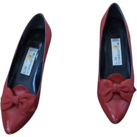 80's Red Leather Bow Front Heels by Liz Claiborne