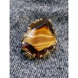 another view of 60's Tiger's Eye Art Glass Statement Brooch