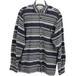 90's Men's Gray and Blue Striped Long Sleeve Flannel by Alaska 1959