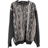 90's Men's Coogi Style Gray Geometric Print Sweater by Gachu