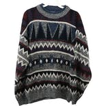 90's Gray and Multicolor Geometric Print Men's Sweater