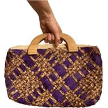 60's Purple Woven Raffia Handbag Purse with Wooden Handles