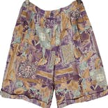 90's Tan Printed Bermuda Shorts by Niki Taylor