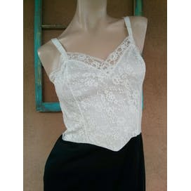 60's Black and White Colorblock Lace Slip by Van Raalte