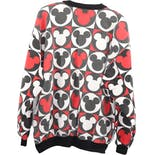 another view of 80's/90's Black Red and White Mickey Mouse Graphic Men's Crewneck Sweatshirt by Mickey & Co