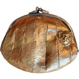 70's Gold Eel Skin Coin Purse with Lion Head Detail by Amanda Alarcon-Hunter