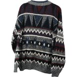 another view of 90's Gray and Multicolor Geometric Print Men's Sweater