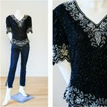 another view of 80's Black and Silver Beaded Top