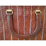 another view of 70's Maroon Stitched Woven Top Handle Bag by Morris Moskowitz